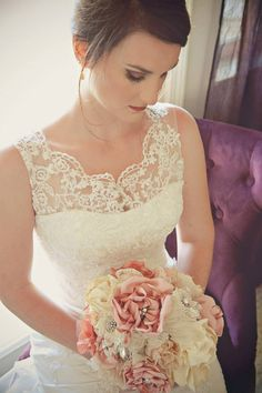 Alyssa's wedding bouquet ...fabric flowers