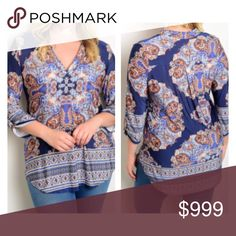 "3 LEFT! (Plus) Blue blouse 92% polyester/ 8% spandex. Extremely soft and stretchy! High/ low style- also longer on the sides. Length measurement is front side. Very TTS  XL: L 30"" • B 44"" 2x: L 30"" • B 46"" 3x: L 31"" • B 48"" Availability: XL•2x•3x • 2•0•1 ⭐️This item is brand new from manufacturer without tags.  🚫NO TRADES 💲Price is firm unless bundled 💰Ask about bundle discounts Tops Blouses"
