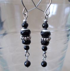 Shimmering Black & Silver Dangle Earrings by Pizzelwaddels on Etsy, $13.97