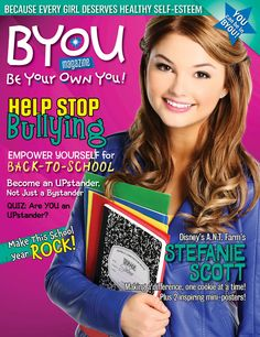 Check out Stefanie Scott from Disney's A.N.T. Farm on the cover of BYOU 'Be Your Own You!' Magazine for girls!   SUBSCRIBE TODAY at www.BYOUmagazine.com