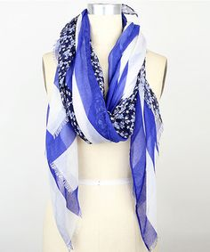 Another great find on #zulily! Royal Blue & White American Ditsy Day Wrap Scarf by Steve Madden #zulilyfinds