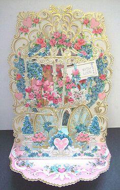 Victorian Valentine Heart Doily Greeting Card 7 12 Vintage Ephemera Floral Craft Paper