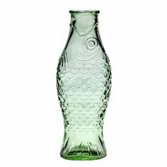 Large Green Fish & Fish Glass Bottle : Fill this Fish & Fish large transparent green glass fish bottle with water or wine.  Designed by Paola Navone for Serax.