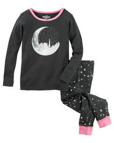2-Piece Glow-In-The-Dark Moon Snug Fit Cotton PJs