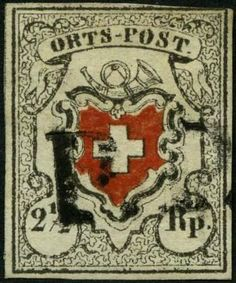 "Switzerland 1850, 2½ Rp. ""local mail"", with framed cross, type 15, with black ""P. P. "" from train (AW no. 241), top right touched lightly and trace of c..."