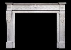 A 19TH CENTURY ANTIQUE FRENCH LOUIS XVI STYLE CARRARA MARBLE FIREPLACE  Stock No: 3569