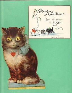 Antique Greeting Cards Christmas Valentines Both with Cats | eBay