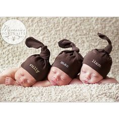 Triplet Baby Hats   Personalized Embroidery by cottoncupcakeshoppe
