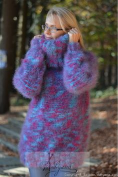 Fuzzy and soft wool mohair sweater knitted in gray white mix.Hand knitted T-neck mohair sweater by Dukyana. Mohair Sweater, Hand Knitting, Turtle Neck, Warm, Purple, Sleeves, Model, Sweaters, Dresses