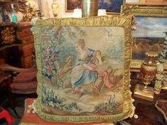 Pair of Oversized Aubusson Tapestry Panels Fitted as Pillows | From a unique collection of antique and modern pillows and throws at https://www.1stdibs.com/furniture/more-furniture-collectibles/pillows-throws/