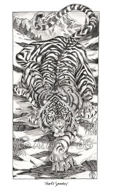 Fearful Symmetry-Graphite Print sold by Spira Mirabilis: Art of Balaa. Shop more products from Spira Mirabilis: Art of Balaa on Storenvy, the home of independent small businesses all over the world. Tiger Tattoo Sleeve, Back Tattoo, Sleeve Tattoos, Hand Tattoos, Samurai Tattoo, Samurai Art, Tiger Tattoo Design, Tattoo Designs, Tattoo Sketches