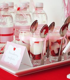 cute strawberry parfaits  for valentine's day party