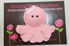 Hair Accessories - Felt Hair Clips - Light Pink 'Puffy' Octopus Felt Hair Clippie For Girls - Ocean Or Under The Sea Theme. $3.25, via Etsy.