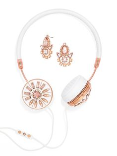 We teamed up with FRENDS to create a BaubleBar-inspired edition of embellished headphones with interchangeable caps. For days when you want a more understated look, the bejeweled caps can be swapped out for the accompanying FRENDS signature metallic ones. Crafted from real leather, the headset boasts a three-button volume mic, phone control, fabric-covered cord, memory foam ear cushions, zippered storage pouch and a pair of matching earrings for a little added sparkle.