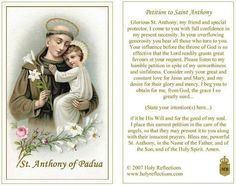 Petition to St Anthony of Padua