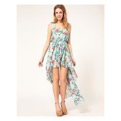 Pretty, but a little too short in the front for me...Chiffon Oriental Floral Print Dip Hem Dress