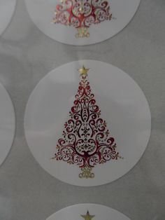 Beautiful, intricate red & gold foiled & embossed christmas trees lables!! Gorgeous