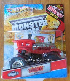 2012 Derailed Hot Wheels Monster Jam Train Truck with Topps Card Damaged Pkg #HotWheels #MonsterTruck
