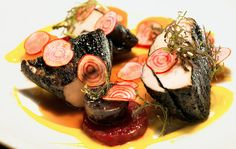 Amish Chicken, beets, rutabagas, potatoes and hay ash (yes, hay ash) at Gwynnett St. in Brooklyn.