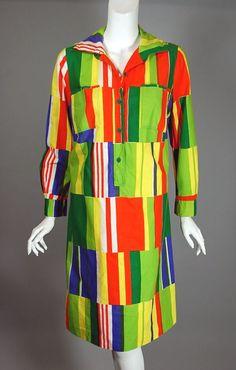 Bright stripes cotton 70s Marimekko dress size M 38 40 bust