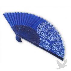 Blue Corona Silk Japanese Style Hand Fan