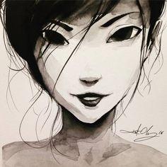 #ink #inktober #inktober2016 #drawing #KurtChangArt #art #illustration #lighting #portrait #hair #girl #sass