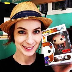 Felicia Day poses with her Funko POP Vinyl  - Visit http://popvinyl.net/pop-vinyl-news/felicia-day-poses-funko-pop-vinyl/ for more information
