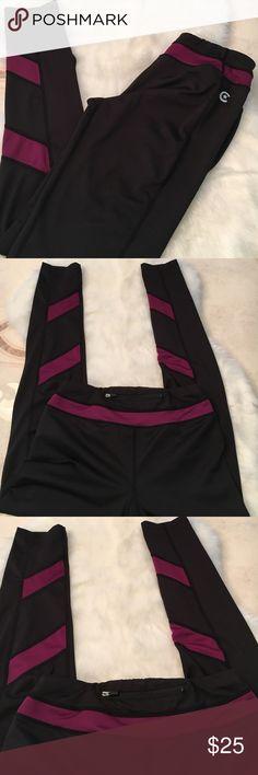 Celebrity Pink Panel Fitness Leggings small Love these leggings!! I just have wayyy to many. I only wore these once, they are black with deep berry color panel design, super cute and flattering. No flaws like new. No trades please. 🛍BUNDLE UP AND SAVE. Not listed brand listed for views. lululemon athletica Pants Leggings