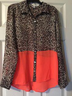 293462b5049 WOMENS DEB Hi Low LEOPARD Print SHEER Orange Bottom Blouse Shirt Top Size  Med