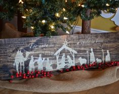 Rustic Wooden Nativity Sign, Christmas Decor, Rustic Manger Scene, Rustic Christmas Decor, Nativity Scene di DaisywoodDesign