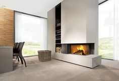 Wood-burning fireplace / corner / closed hearth / contemporary HEAT PURE 65 Kal-fire