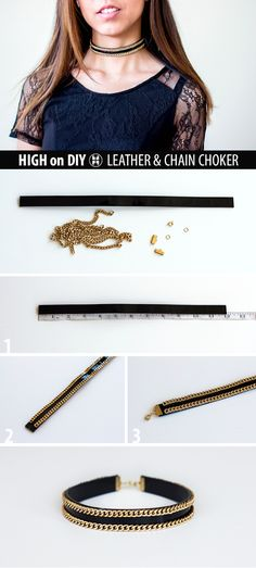 DIY Leather & Chain Choker Necklace #Balmain #SpringSummer2015 #DIYFashion