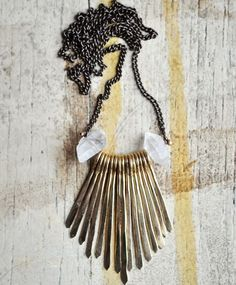 Suzannah Wainhouse Brass and Hermiker Fringe Adeline Necklace