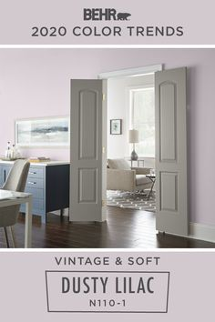 BEHR® Paint in Dusty Lilac brings a soft, vintage style to this dining room. As part of the BEHR 2020 Color Trends Palette, it also makes for a stylish addition to your own home. Click below to learn more about this pastel purple hue.