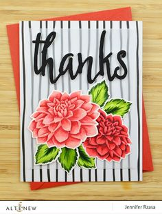 Thank you card with dahlia flowers colored using Altenew Artist Markers. The stamps are from the Dahlia Blossoms stamp set. www.altenew.com