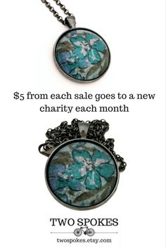 Blue flower necklace. Circle pendant necklace. Upcycled jewelry. People over profit. Circle pendant necklace. Ladies necklaces. Gifts under 20.