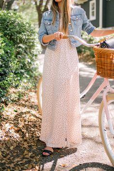 Gal Meets Glam Blush Dotted Maxi -Karlie Kloss x Express dress & denim jacket c/o & Pure City Bike