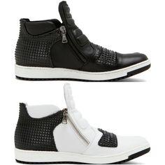 "Neil Barrett ""Dickensian"" Pyramid Studded Sneakers | UpscaleHype"