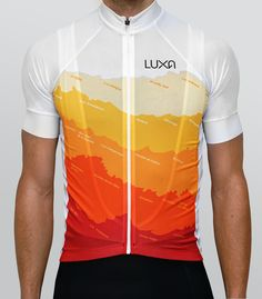 Tenerife cycling jersey by Luxa. Inspired by a sunny Tenerife colours. Real coastline with name of towns in design.