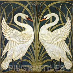 Arts & Crafts Walter Crane Swans Ceramic Tile Fireplace Kitchen Bathroom Black