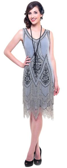 Grey & Black Embroidered Reproduction 1920's Flapper Dress - Unique Vintage - Homecoming Dresses, Pinup & Prom Dresses. #promshoesvintage