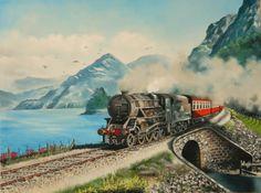 yağlıboya tren manzarası