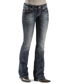 Miss Me Jeans     Miss Me Jeans - New Cross Embellished Stone Boot Cut