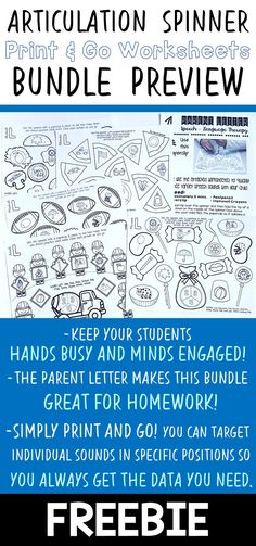 - TRY BEFORE YOU BUY! - This is a preview freebie for a much larger print and go articulation spinner worksheet bundle.  - This speech therapy bundle is a huge time-saver for busy SLPs. - The parent letter that is included makes this articulation activity