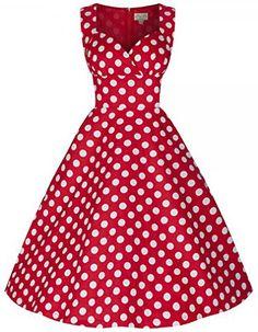 Eyekepper Women 'Hepburn'Style Vintage 50's 60's Polka Dot Swing Dress