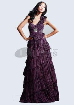 Long Evening Dresses-A-Line One-Shoulder Long Evening Dresses