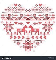 Scandinavian Nordic Winter Stitch, Knitting Christmas Pattern In In Heart Shape Shape Including Snowflakes, Christmas Trees,Reindeer, Snow, Stars, Decorative Elements On White Background Stock Vector Illustratie 345511097 : Shutterstock