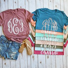 New monogram font and new shirt colors on our oh-so-popular Rose Gold Monogram Tee! Also made with our NEW rose gold shimmer ink! It's SO SOFT... we promise you won't want to take it off!!!!