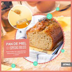 """En Navidad sorprendé a tu familia con esta delicia hecha en tu fábrica de pan #ATMA. #ATMARecetas INGREDIENTES: 3 huevos, 175 gr de miel, 150 ml de leche, 100 gr de azúcar negra, 1 cdita de especias dulces (canela, anís en polvo, nuez moscada), 300 gr de harina 0000, 85 gr de manteca y 1 sobre de levadura """"Mi Pan"""". Banana Bread, Desserts, Food, Canela, World, Spice, Butter, Milk, Sweets"""