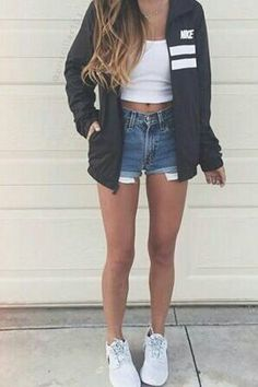 Pinterest// cfmtux Crop top, Nike, jacket, casual, white, summer outfits, style, tumblr, cute, cut offs, Jean shorts